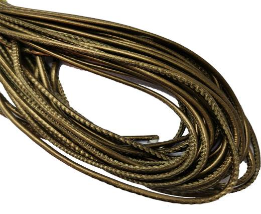 Round Stitched Leather Cord - 3mm - GREEN BRONZE