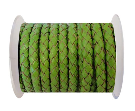Round Braided Leather Cord SE/B/2009-Green Grass - 6mm