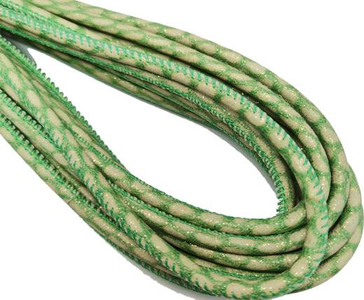 Round Stitched Nappa Leather Cord-4mm-green sand