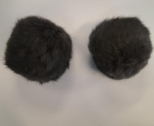 Rabbit Fur Pom Pom-Grey-7cms