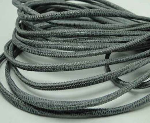 Round stitched nappa leather cord Lizard Prints-Grey Lizard- 2.5m