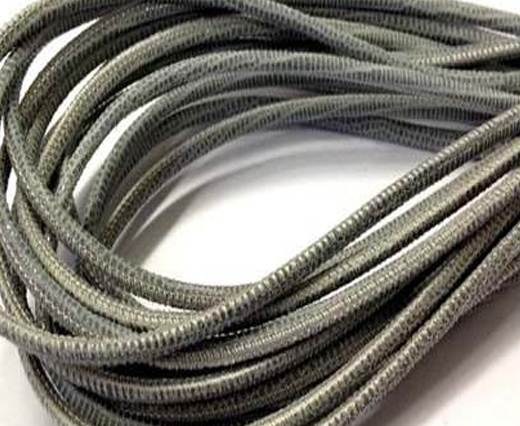 Buy Round stitched nappa leather cord 3mm Lizard Grey Paill Transparent at wholesale prices