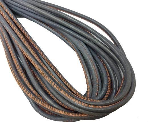 Round Stitched Nappa Leather Cord-4mm-grey with orange stitch