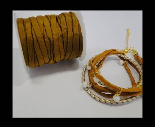 Habotai silk cords - Camel green