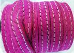 Hair-On Leather with Stitch-Fuchsia-10mm