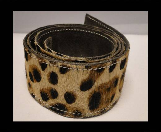 Buy Hair-On Leather Belts-Leopard Skin-40mm at wholesale prices