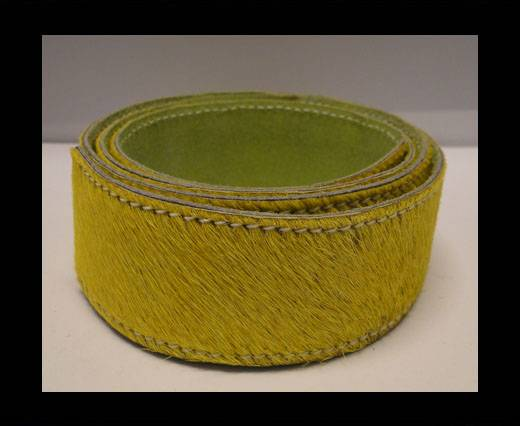 Buy Hair-On Leather Belts-Yellow-40mm at wholesale prices