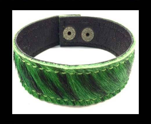 Hair-on bracelet-Zebra Green-20mm