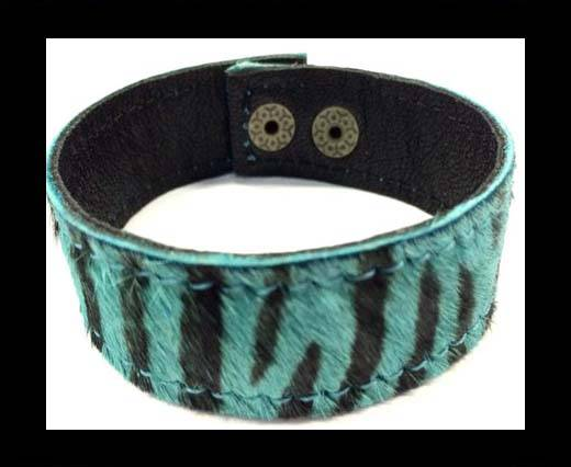 Hair-on bracelet-Zebra Blue-20mm