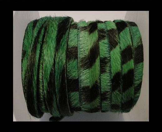 Hair-On Leather Flat-Hunter Green Zebra Print-20mm