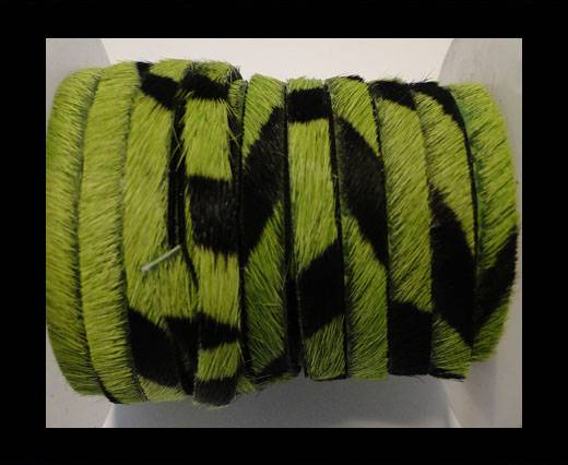 Hair-On Leather Flat-Grass Green Zebra Print-20mm