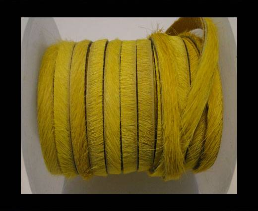 Hair-On Leather Flat-Yellow-20mm
