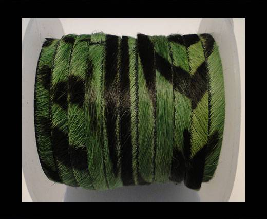 Hair-On-Flat Leather-Green Zebra-10MM
