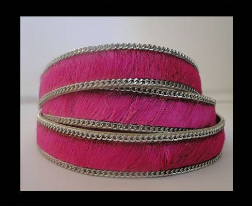 Buy Hair-on leather with Chain-Fuchsia-14mm at wholesale prices