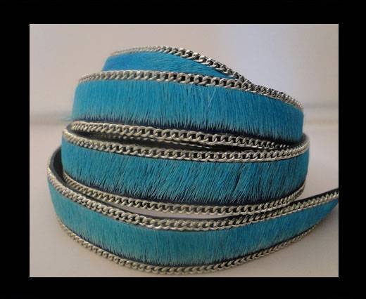 Buy Hair-on leather with Chain-Turquoise-14mm at wholesale prices