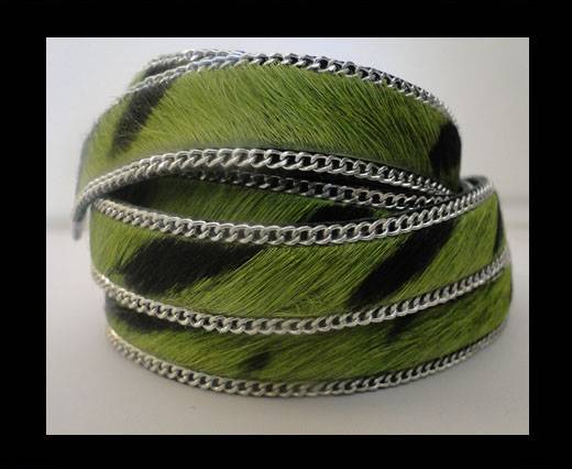 Hair-on leather with Chain - Green Zebra Print - 10mm