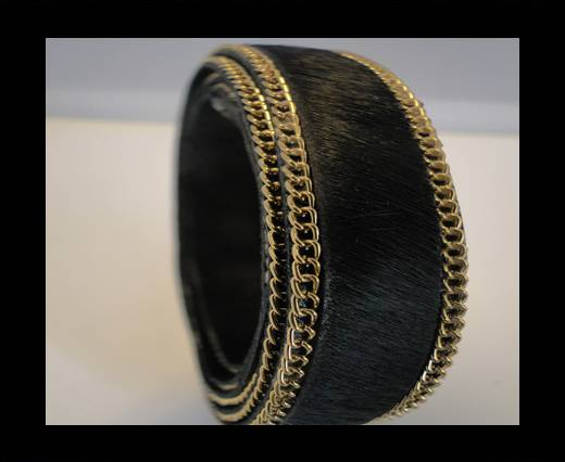 Buy Hair-On Leather with Gold Chain-Black at wholesale prices