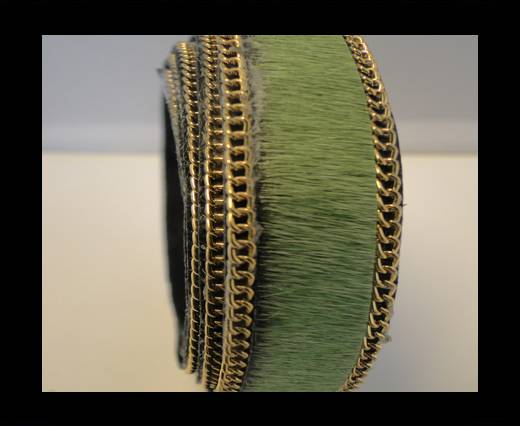 Buy Hair-On Leather with Gold Chain-Light Green at wholesale prices