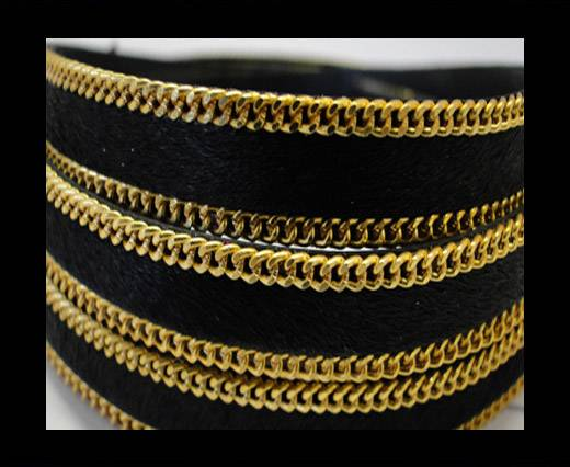 Buy Hair-On Leather with Gold Chain 10mmSE-Black at wholesale prices