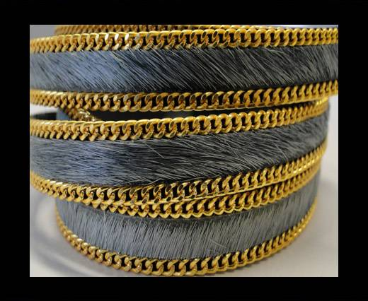 Buy Hair-On Leather with Gold Chain 10mm-SE-Grey at wholesale prices