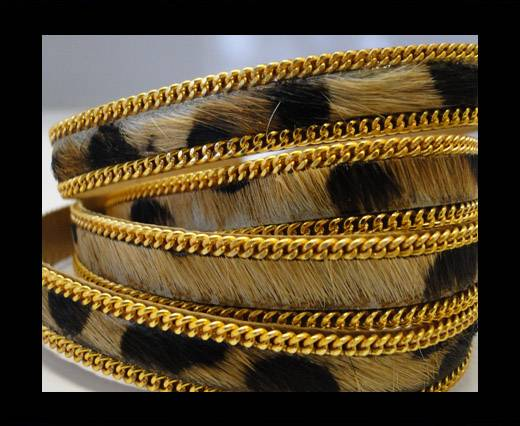 Buy Hair-On Leather with Gold Chain 10mm-SE-Leopard at wholesale prices