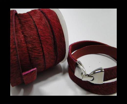 Buy Hair-On-Leather-Cords-Wine Red-10mm at wholesale prices