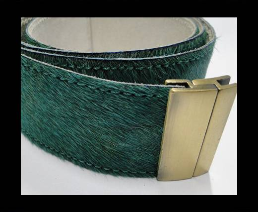 Hair-On Leather Belts-Green-40mm