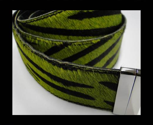 Hair-On Leather Belts-Green Zebra -40mm