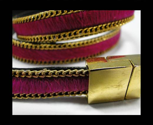 Buy Hair-On Leather with Gold Chain- 10 mm - Fuchsia at wholesale prices