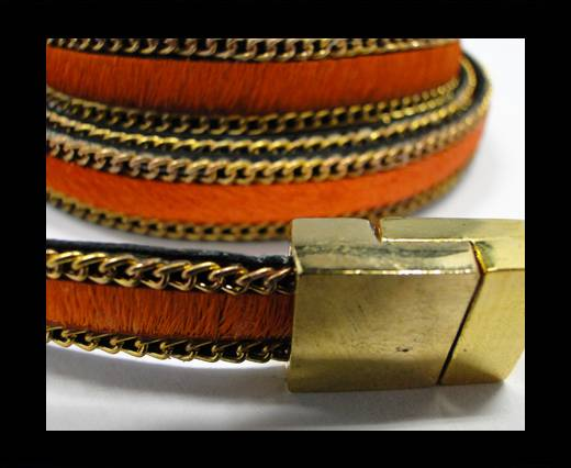 Buy Hair-On Leather with Gold Chain-10 mm - Orange at wholesale prices