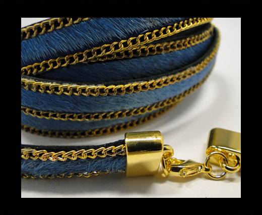 Buy Hair-On Leather with Gold Chain-10 mm - Turquoise at wholesale prices