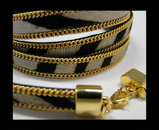 Buy Hair-On Leather with Gold Chain-10 mm - Zebra at wholesale prices