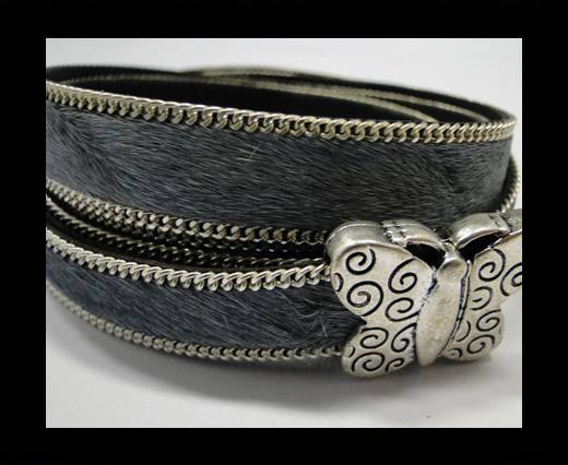 Buy Hair-on leather with Chain - 14 mm - Grey at wholesale prices
