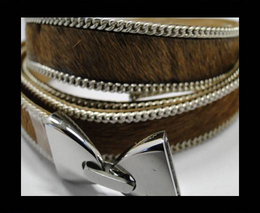 Hair-on leather with Chain - 14 mm - Light Brown