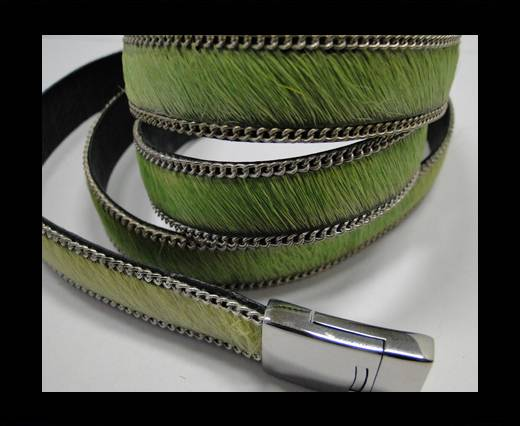 Hair-on leather with Chain - 14 mm - Light Green