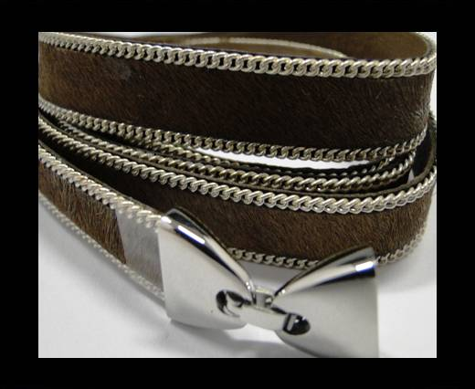 Buy Hair-on leather with Chain- 14 mm - Medium Brown at wholesale prices