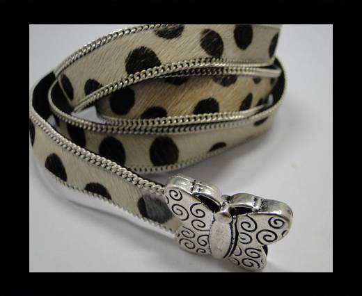 Hair-on leather with Chain- 14 mm - White Dalmatian
