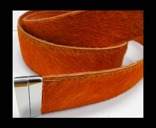 Hair-On Leather Belts-Dark Orange-40mm
