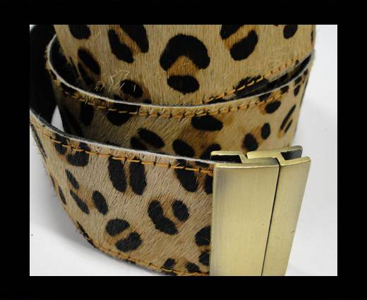 Hair-On Leather Belts-Leopard BigSpot-40mm