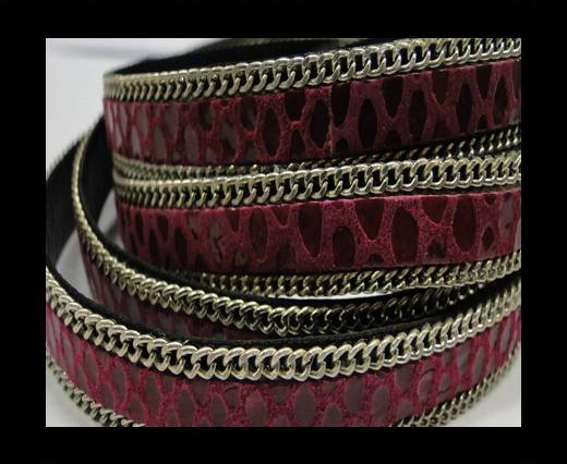Hair-on leather Chain-Snake Fuchsia-10m