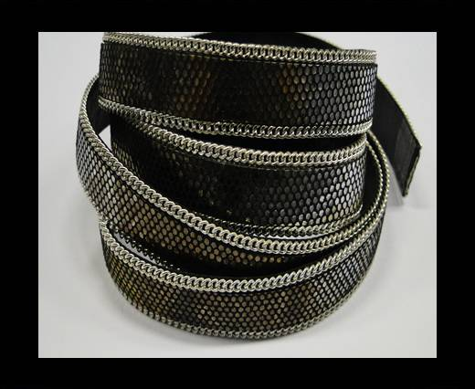 Hair-on leather with Chain - 14 mm - Brilliantly colored