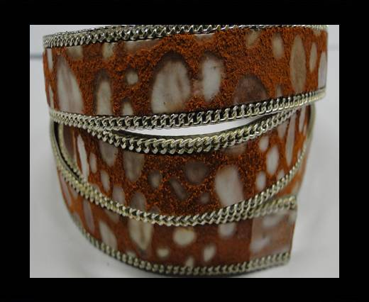 Hair-on leather with Chain - 14 mm - Orange mosaic