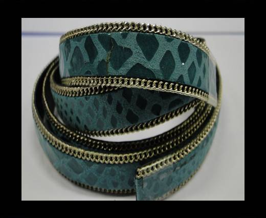 Buy Hair-on leather with Chain - 14 mm - Snake Turquoise at wholesale prices