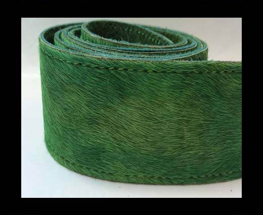 Hair-On Leather Belts-grass green-40mm