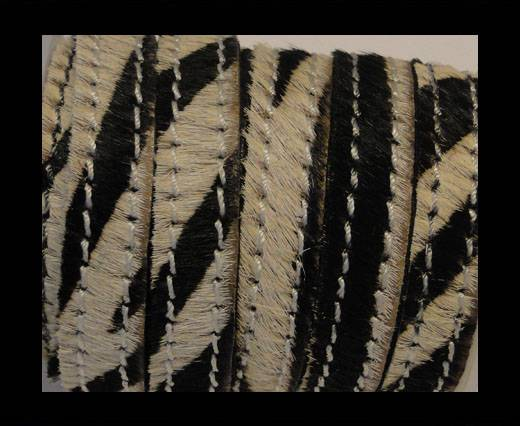Hair-On Leather with Stitch-Zebra Skin-10mm