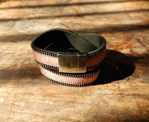 Leather Bracelets Supplies  - Pink