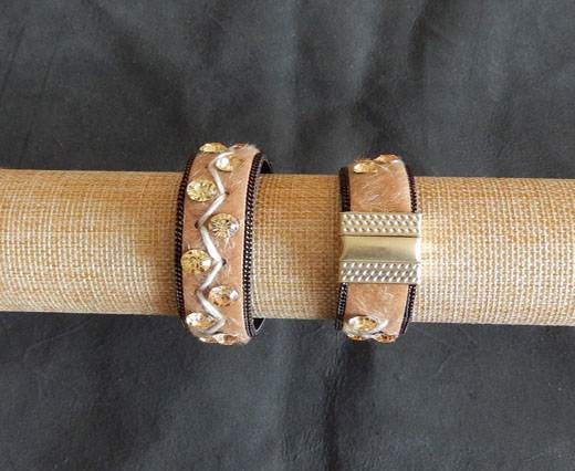 Leather Bracelets Supplies  - Beige with diamonds