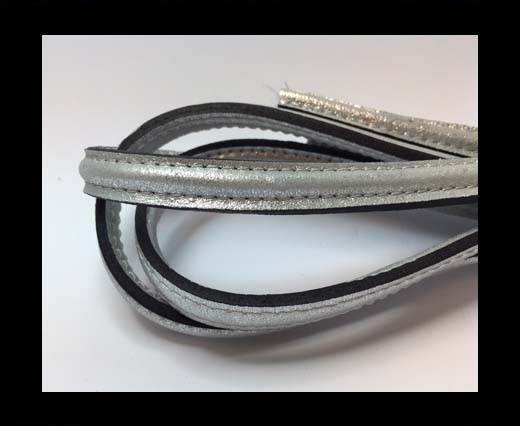 Half round stitched Leather -10mm- Silver