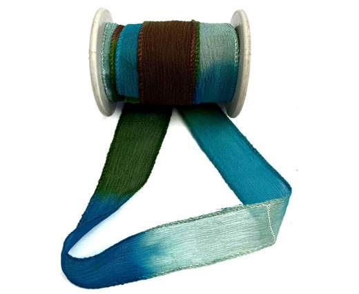 Hand dyed silk ribbons Papper Grass