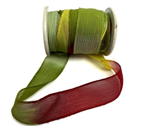 Hand dyed silk ribbons - Sizzling Red